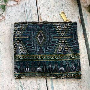 Steve Madden clutch embroiderey blue yellow purse
